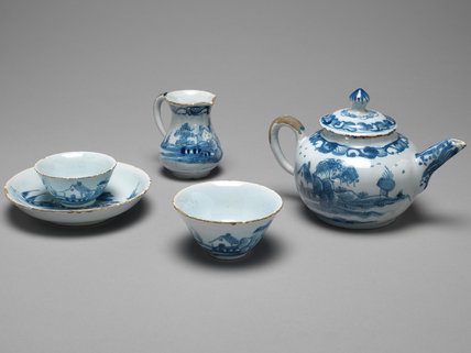 English Delftware toy tea set