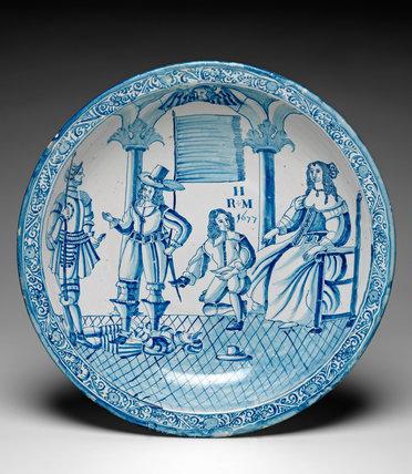 English Delftware dish with Crispin, Crispinian & Ursula