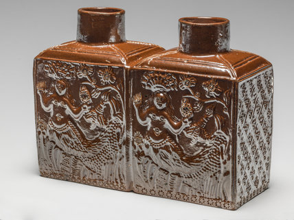 English double tea caddy decorated with mermaids