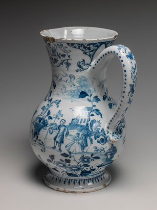 English Delftware jug with scenes of dining and drinking