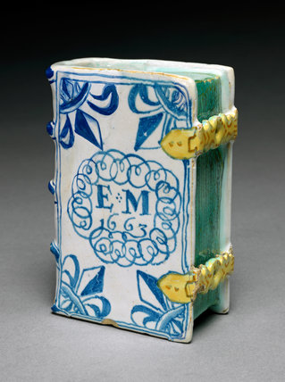 English Delftware hand warmer in the shape of a book