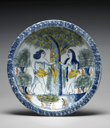 English Delftware charger with the Temptation of Adam