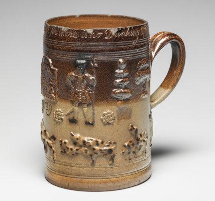 English hunting mug with George II and Queen Caroline