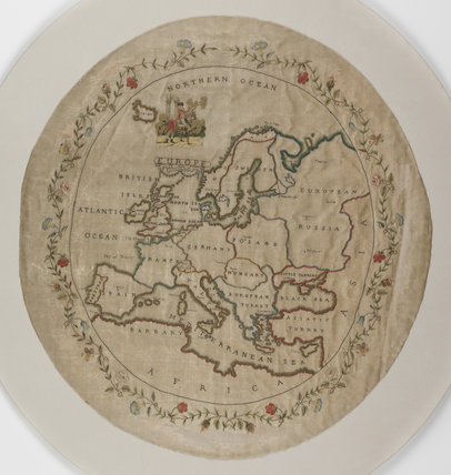 English embroidered map sampler of Europe (detail)
