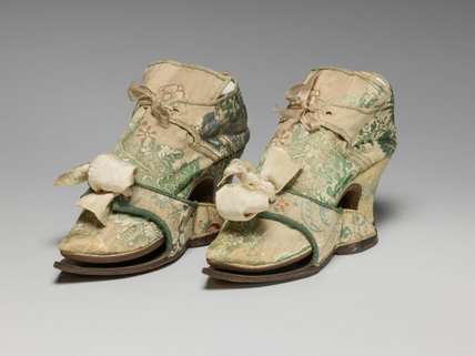 English brocaded silk shoes and pattens
