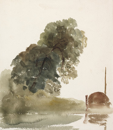 Sketch of a tree and the hull of a boat, by De Wint