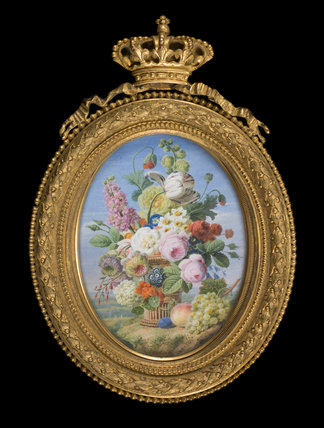 A basket of flowers with fruit, by Jan Frans van Dael