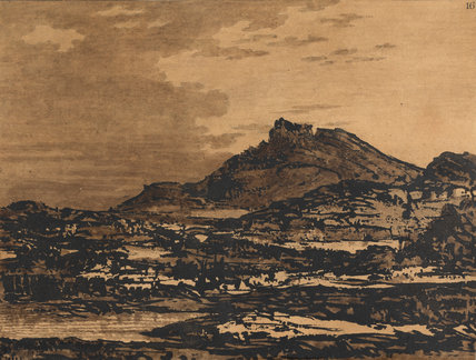Landscape with a dark hill, by Alexander Cozens