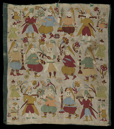 Greek cushion cover embroidered with male figures