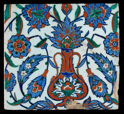 Iznik tile with stylised floral design, Ottoman