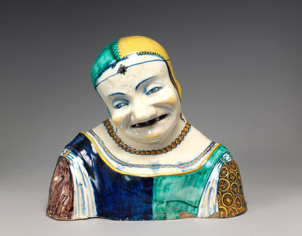 Maiolica bust of an old woman