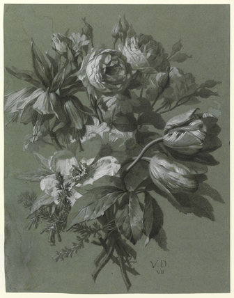 Flowers including roses and tulips, by Jan Frans van Dael