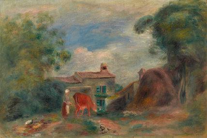 Landscape with figures, by Renoir