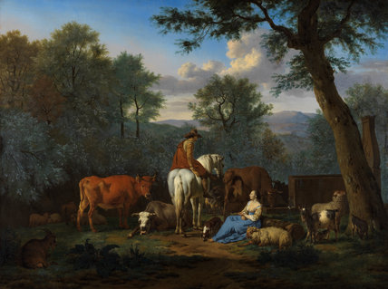Landscape with cattle and figures, by Adriaen van de Velde