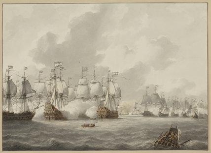A sea battle, by Petrus Johannes Schotel