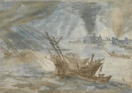 A harbour scene in a storm, by Pozzoserrato