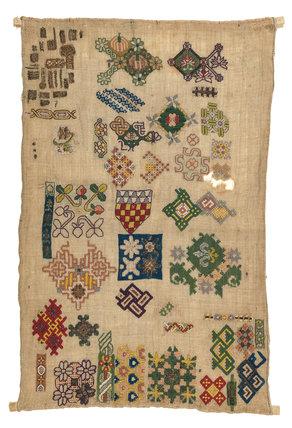 English embroidered spot motif sampler