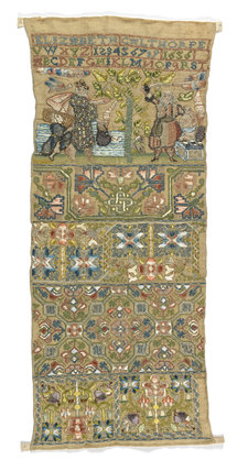 English embroidery sampler, by Elizabeth Calthorpe