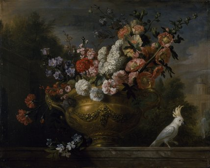 Still life with flowers in an urn, with a cockatoo, on a ledge, c.1699