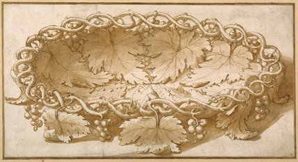 Design for an oval fruit bowl, with vine tendrils, leaves and grapes