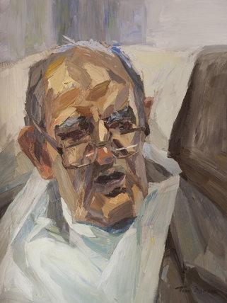 Old man wearing a bib.