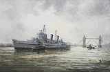 HMS Belfast arriving in the Pool of London