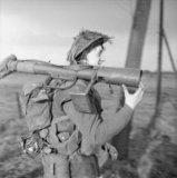 A PIAT gunner of the 1st Norfolk Regiment during the advance on Wanssum, Holland, 26 November 1944.
