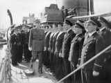 General De Gaulle inspecting sailors on the Free French ship LEOPARD at Greenock, 24 June 1942.