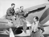 Squadron Leader Peter Townsend chatting with ground crew on his Hawker Hurricane at Wick, Scotland, 1940.