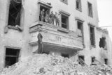 British and Russian soldiers on the balcony of the ruined Chancellery in Berlin, 5 July 1945.