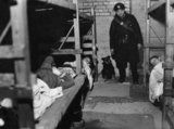 Rip&#039; the dog and ARP Warden Angelus visit an air raid shelter in Poplar, London, December during 1941.