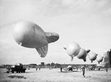 Kite balloons of No. 1 Balloon Training Unit at Cardington, October 1940.