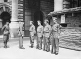 Local Defence Volunteers (LDV) being inspected by senior officers at their post in Whitehall, London, 21 June 1940.