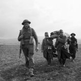 German POWs help carry a wounded British soldier during 6th Armoured Division's attack on the town of Pichon in Tunisia, 8 April 1943.