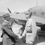 General Charles de Gaulle (right) greats General Giraud near Algiers, 30 May 1945.
