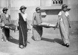 Indian women training for air raid precautions (ARP) duties in Bombay, 1942.