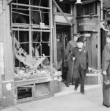 Winston Churchill inspects air raid damage at Ramsgate in Kent, 28 August 1940.