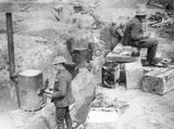 Trench cookers of the 191st Siege Battery, Royal Garrison Artillery, in a position near the village of Wancourt, 29 April 1917.