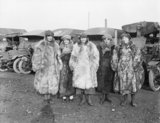Five ambulance drivers of the First Aid Nursing Yeomanry (FANY) at Calais in January 1917.