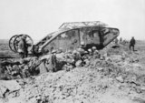 Mark I 'Male' Tank of 'C' Company that broke down on its way to attack Thiepval on 25 September 1916 during the Battle of the Somme.