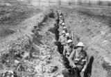The King's Liverpool Regiment, 55th Division, moving along a communication trench leading to the front line near to Blairville Wood, Wailly, 16th April 1916.