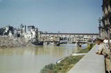 The Ponte Vecchio bridge in Florence, damaged by the retreating Germans who blew up buildings at each, 14 August 1944.