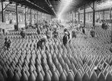 Munition workers in a shell warehouse at National Shell Filling Factory No.6, Chilwell, Nottinghamshire in 1917.