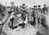 Wounded British troops at 43 Casualty Clearing Station, Frevent, 8 April 1918.