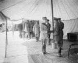 King George V decorates General Philippe Pétain with the Order of the Bath at Albert, 12 July 1917.