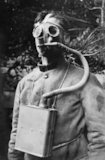 The French Tissot mask demonstrated by a French soldier. The Tissot mask was revolutionary in that it gave the wearer greater visibilty by allowing air to pass over the eye-pieces.