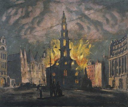 St Clement Dane's Church on Fire after being Bombed