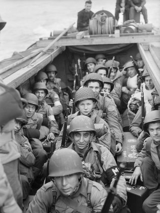 American troops on board a landing craft heading for the beaches at Oran in Algeria during Operation 'Torch', November 1942.
