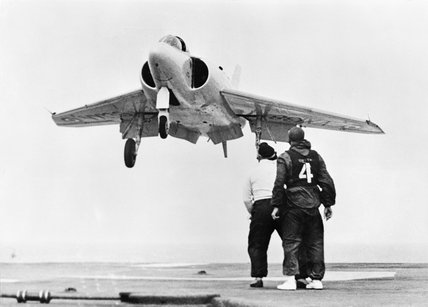 The Supermarine 525 prototype naval fighter landing aboard HMS CENTAUR, 14 June 1955.