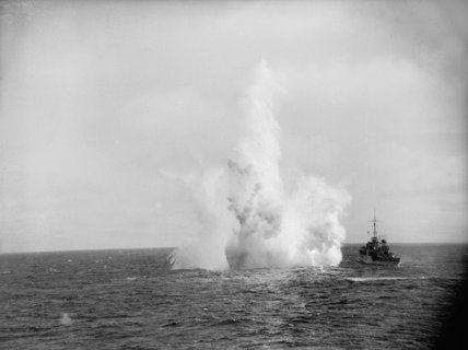 HMS KITE of the 2nd Escort Group depth charging a U-boat in the Atlantic, January 1944.